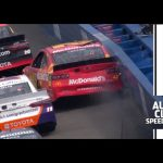 Denny Hamlin walls Kyle Larson at Auto Club Speedway | NASCAR at Auto Club Speedway