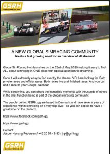 YOUR NEW GLOBAL SIMRACING COMMUNITY Do you also struggle to find the live stream you're lookin